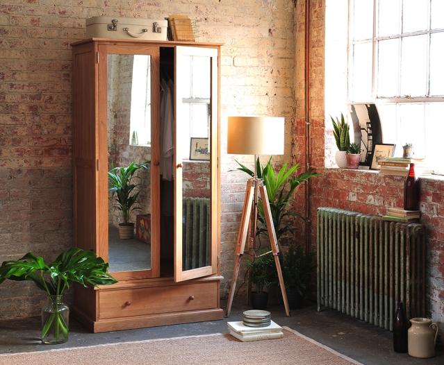 Appleby Oak Wardrobe With Mirrors, Oak Bedroom Furniture, Dream Bedroom, Vintage Suitcases, Books, Tripod Lamp, Prints, exposed brick will