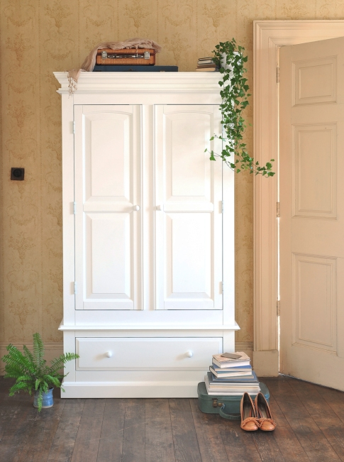 Burford Wardrobe, White, Painted, Classic, Cornicing