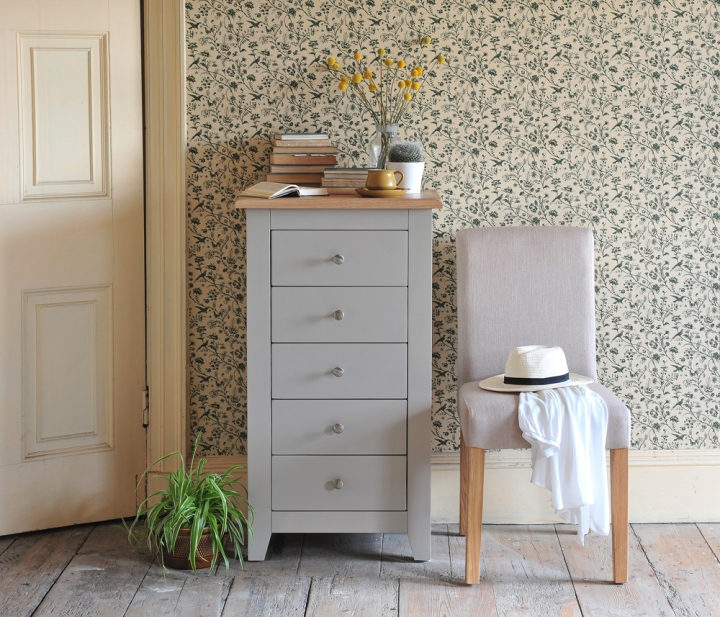 Chester Grey Chest of Drawers With Linen Chairs