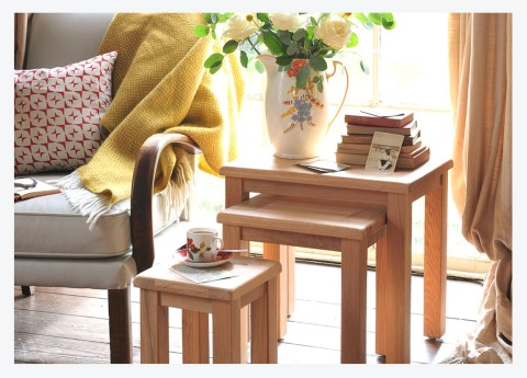 WIN! OUR NATURAL OAK NEST OF TABLES