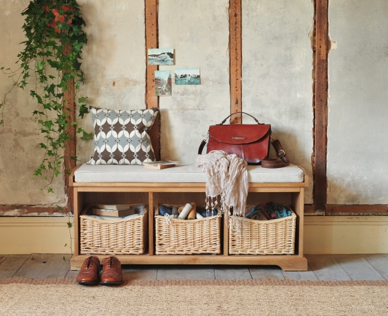 Hall bench, farmhouse, shoe storage, hall seating, wicker baskets, hanging ivy, brogues