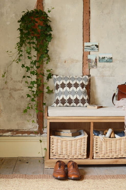 Hanging Ivy, hallway, shoe bench, shoe storage, hall seating, brogues, modern rustic
