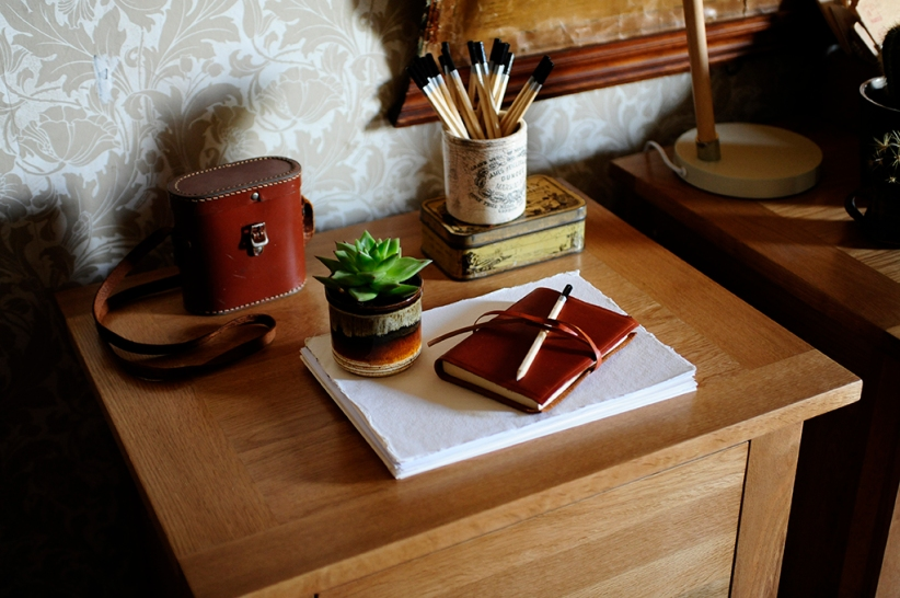 Letter Writing Desk Filling Cabinet Pencils Cacti Paper