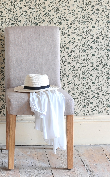 Linen Chair Vintage Wallpaper Wooden Floor