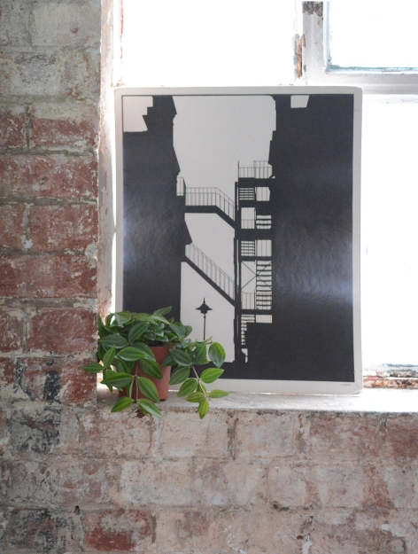 Monochrome print, brick wall, industrial.