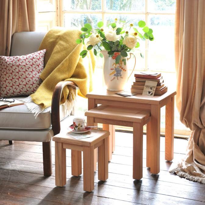 natural oak nest of tables