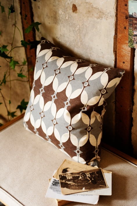 Printed cushion, geometric, hall bench, accessories, modern rustic