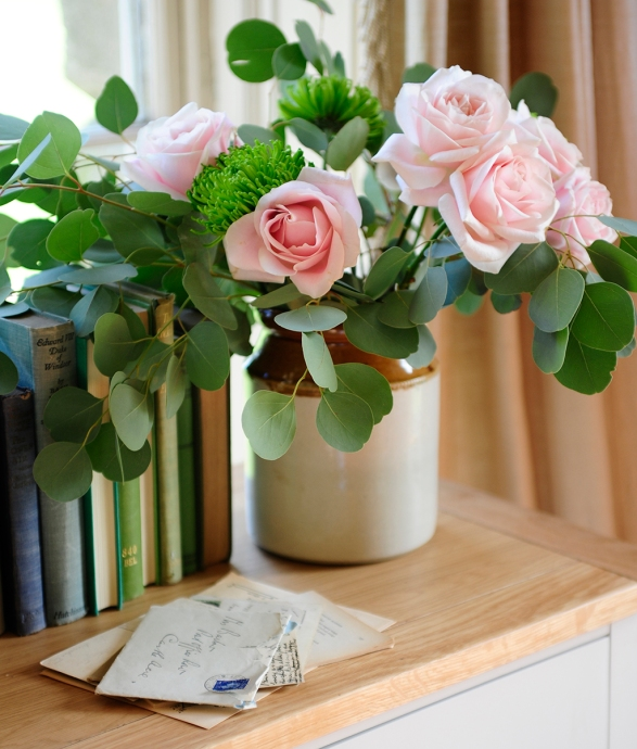 Roses, Flowers, Eucalyptus, Books, Letters, Vintage vase, oak, painted furniture