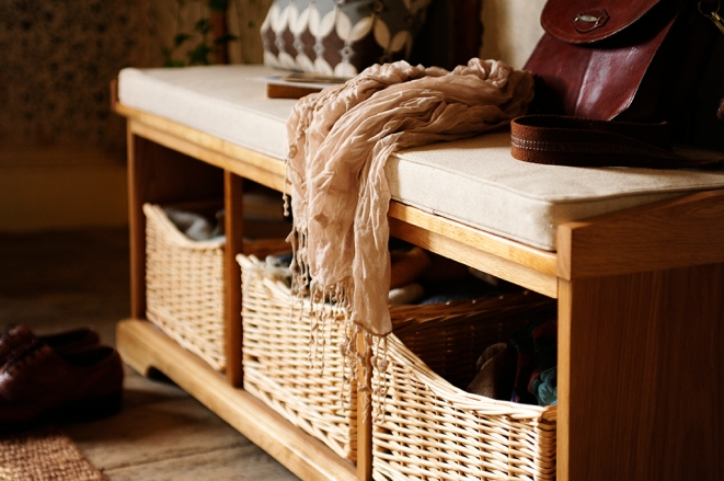 Shoe bench, hall bench, hall seating, shoe storage, wicker baskets, seat pad, leather bag