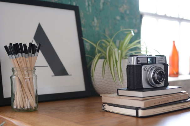 Vintage Camera, monchrome print, pencils in a pot, spider plant, diary, books, oak, green wall