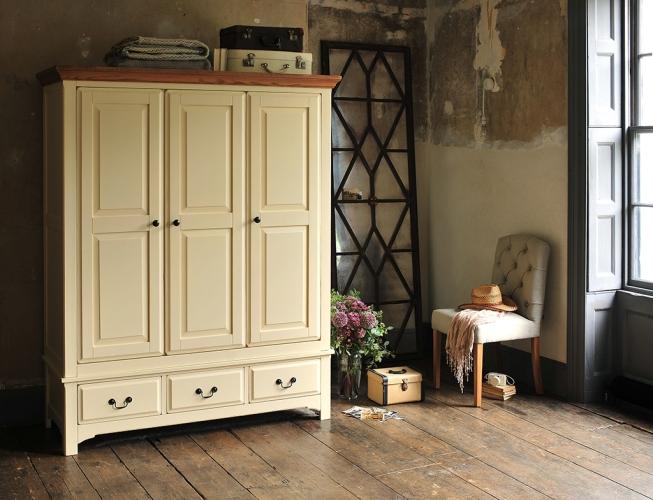 Westbury Painted Tripple wardrobe, Painted furniture, bedroom furniture, dream bedroom, fabric chair, vintage mirror, aliums, vintage suitcases, modern rustic