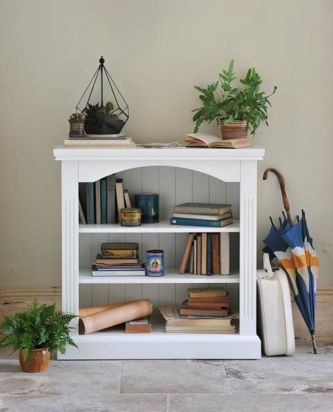 White book case, white on white, blue brolly, blue umbrella, fern, mustard pot, terrarium, vintage white case