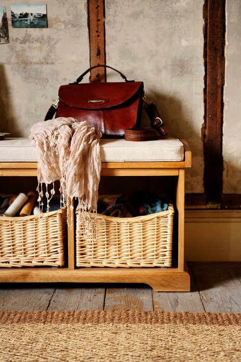 Wicker baskets, accessories, scarf, vintage leather bag, modern rustic, cushion seat pad, farmhouse, modern country