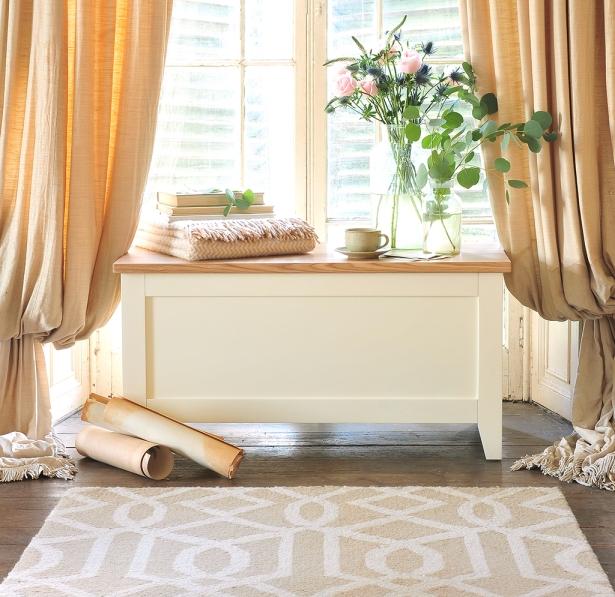Blanket box, cream bedroom furniture, vintage curtains, roses, thistles