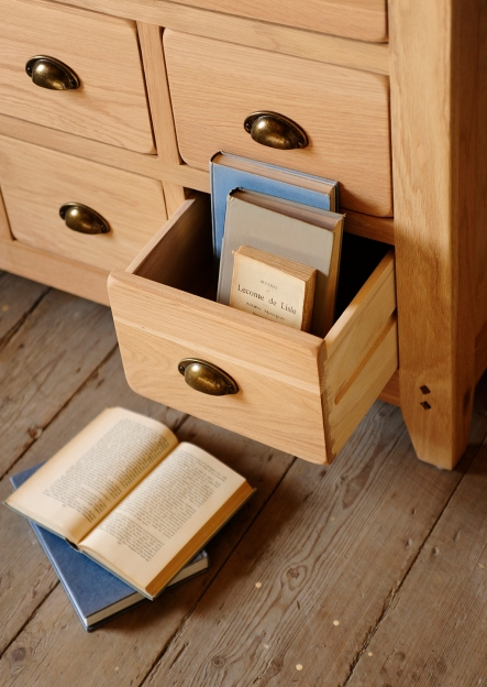 books in drawer