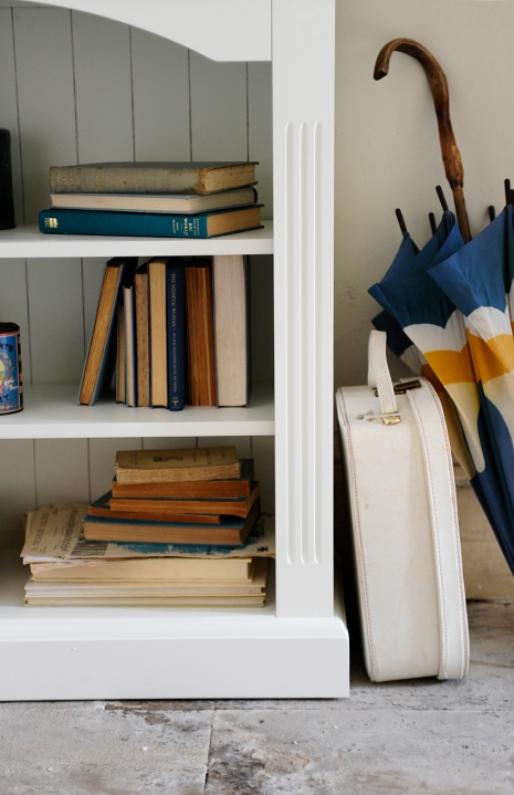 Books, painted book shelf, white bookshelf, blue books, nautical