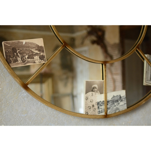 Circular mirror, hallway, vintage postcards, textured wallpaper