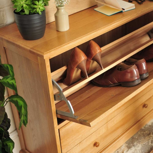 Clever shoe storage, hidden storage, hidden shoes, oak storage, hallway