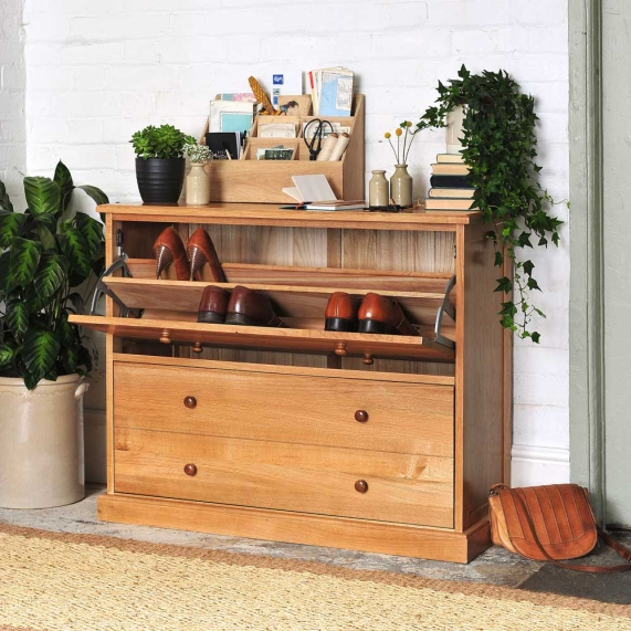 Clever storage open, shoe tidy, hall tidy, hallway, oak shoes storage, hidden storage