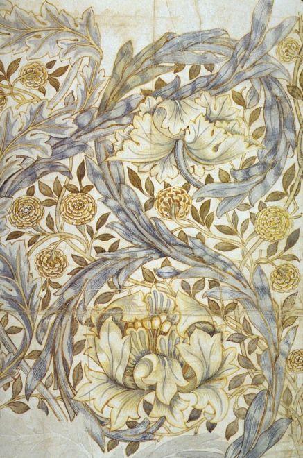 Design for African Marigold printed textile design by William Morris, 1876