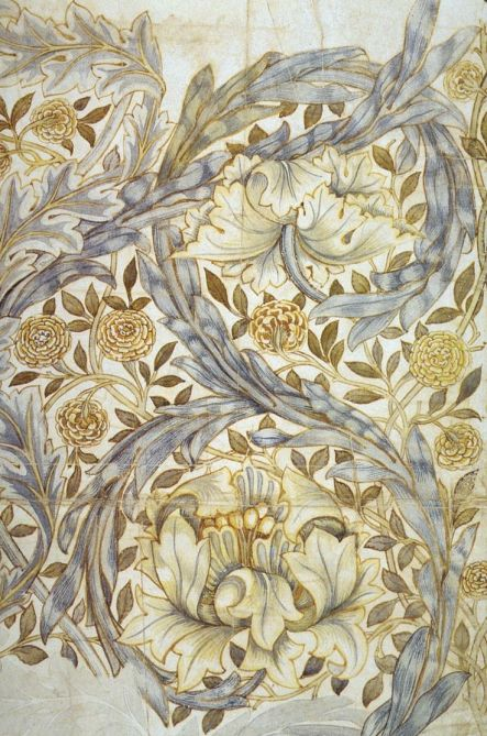 Design for African Marigold printed textile design by William Morris, 1876