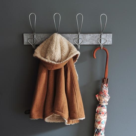Galvanised hooks, hallway, hanging space, hanging jacket, vintage umbrella, hall tidy