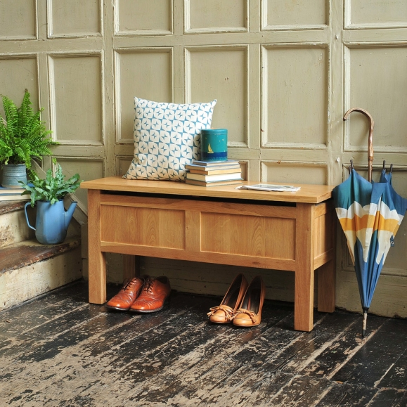 Hall bench, hall seat, hall storage, shoe storage, panelled walls, cushion, plants, brogues, wooden floor, hallway