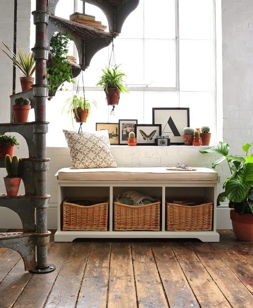 Hall bench, hall seat, hall storage, shoe storage, white brick, spiral staircase, wooden floors, classic furniture, monochrome