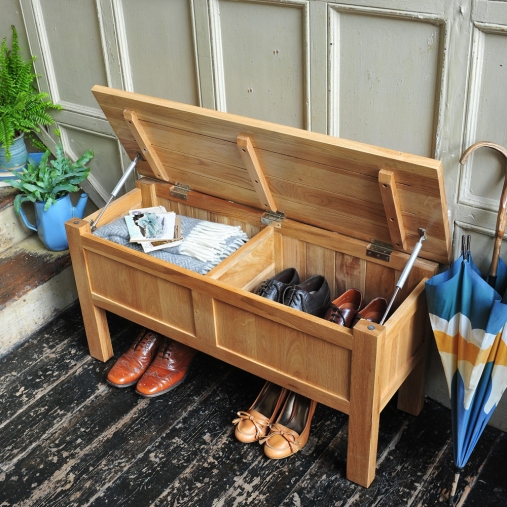Hidden shoe storage, clever storage, hallway, hall tidy, oak shoe storage, open hall seat, storage, hallway