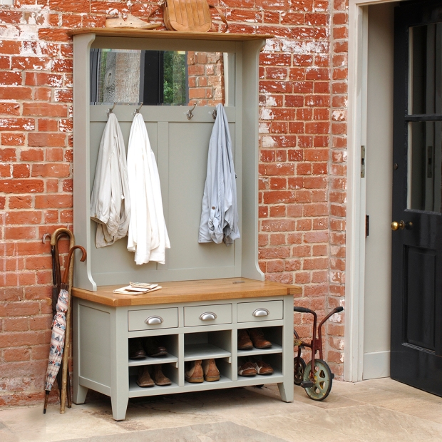 high storage and seating combined, brick wall, stone floor, modern country home, heritage grey2