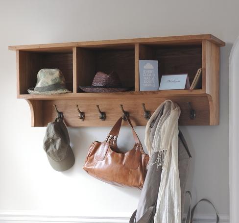 High storage, oak furniture, hallway furniture, clever storage, coat hooks, accessories storage