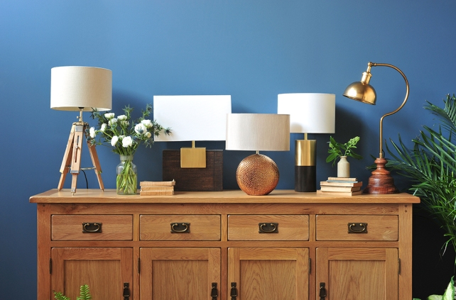Lamps, lamp stands, freestanding lamps, sideboard, oak furniture, lamp collection