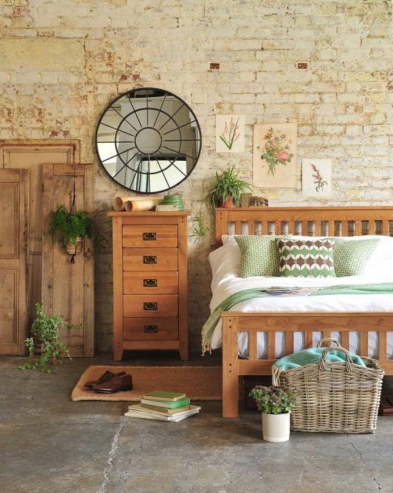Oak bedroom furniture, rustic, oakland, brick wall, plants, green, botanical bedroom