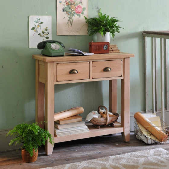 Oak console table, natural oak, telephone table, hall table, gardening, botanical, green, ferns, sussex trug, vintage radio