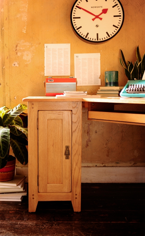 Oak desk, cupboard, clock, home office, roberts radio