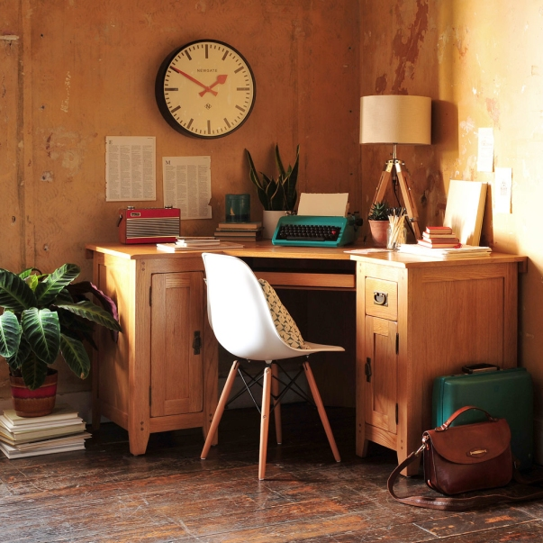 Oak desk, home office, typewriter, clock, eames style chair