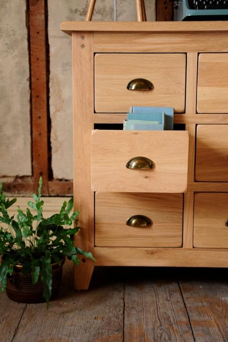Oak furniture, Multidrawer chest, natural oak, oak chest of drawers, cup handles, vintage books, oak storage, oak bedroom furniture, statement piece