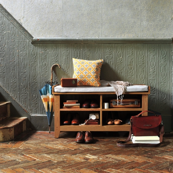 Oak Hall Unit, Hall seat, cushion, brogues, leather bag, accessories, books, parque, period property, hall storage, classic furniture