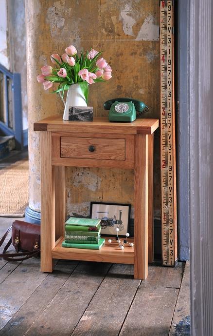Oak telephone table, hallway, hall furniture, small console, vintage telephone