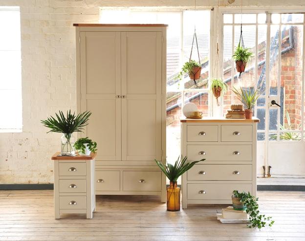 Painted bedroom furniture, grey, beige, white wash floors, macrame plants