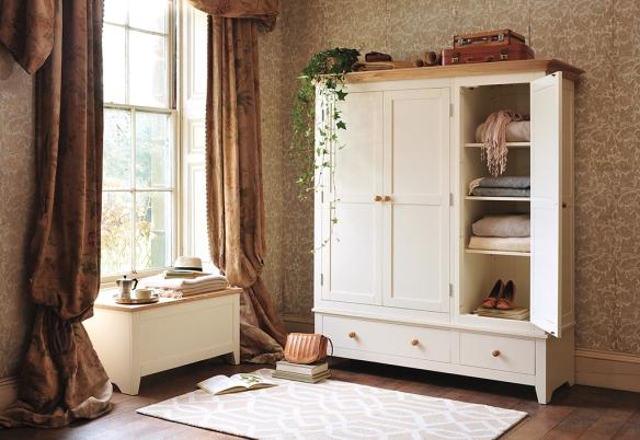Painted bedroom furniture, wardrobe, blanket box, vintage wardrobe, ivy, geometric rug