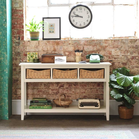 Painted console unit, Hallway, telephone table, wicker baskets, vintage telephone, green, brick wall, vintage style clock, typewriter