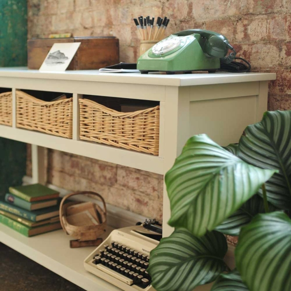 Painted console unit, Hallway, telephone table, wicker baskets, vintage telephone, green