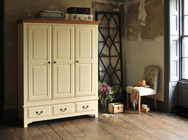 Painted wardrobe, cream, classic, dream bedroom, wooden floors, shutters