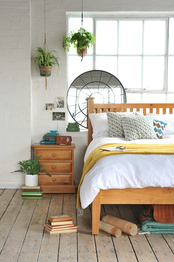 Pine Bedroom Furniture, macrame plants, white linen, white washed floors