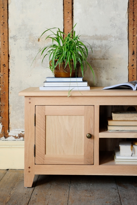 Spider plant, books, bookazine, oak tv unit, wooden floor, exposed beams, rustic