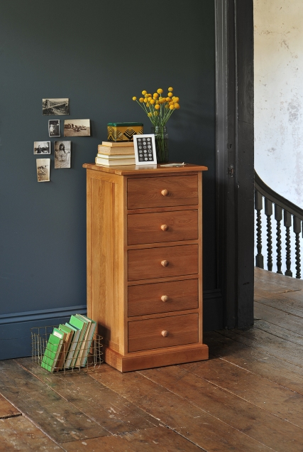 Tall boy, oak chest of drawers, oak chest, slim chest, vintage postcards