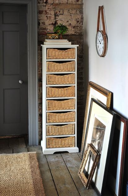 Tall boy, white furniture, wicker baskets, slim furniture, bedroom furniture