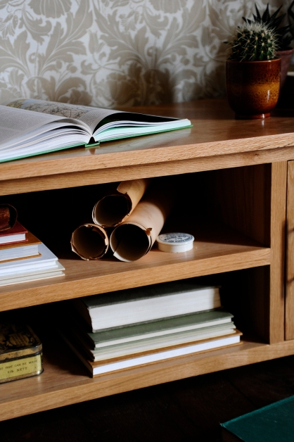 TV unit, soften the look with books