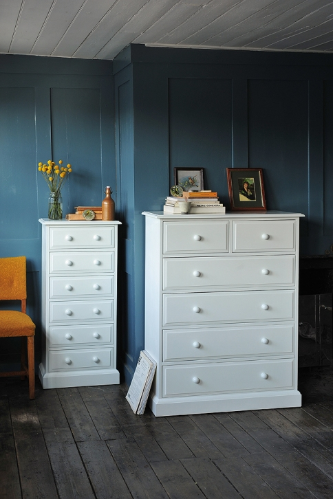 White bedroom furniture, tall boy, slim chest of drawers, alcove, recess, bedroom storage, dream bedroom